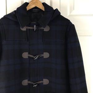 Lauren Ralph Lauren Plaid Pea Coat Blue Black 42R